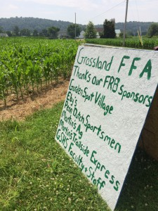 These signs were made by the FFA 10 students to show support for our FRB project sponsors near our fields of corn which are located on Mr. Gene Martin's Farm.