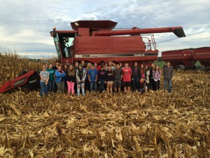 FFA 9 and FFA 12 students had the opportunity to see how corn is harvested and also had the opportunity to ride in the combine.