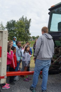 Aaron Weber teaching the third graders about tractor safety.