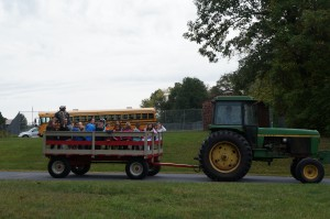 After learning about tractor safety, the third graders got to take a wagon ride!