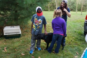 Greeting Chance and learning about what Chance is doing as a seeing eye dog.