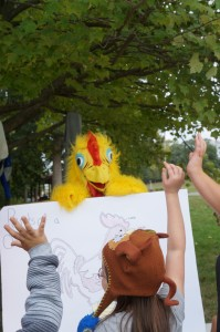 Learning about parts of the chicken is more fun with a chicken suit!