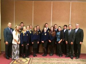 Miss Pray, Miss Tressler and Grassland FFA members pictured with Representative Zimmerman, Senator Aument and Secretary Redding.