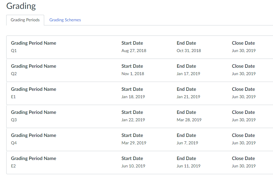 2018-19 Grading Periods