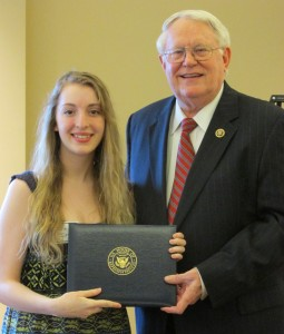 Julia Irvin presented with Overall Winner Award by Congressman Joe Pitts