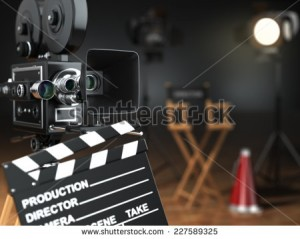 stock-photo-video-movie-cinema-concept-retro-camera-flash-clapperboard-and-director-s-chair-in-dark-studio-227589325