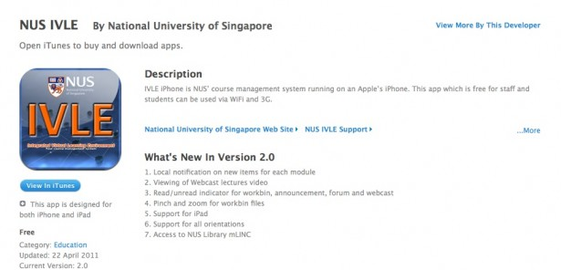 NUS IVLE iPhone App 2.0 - Download it now.