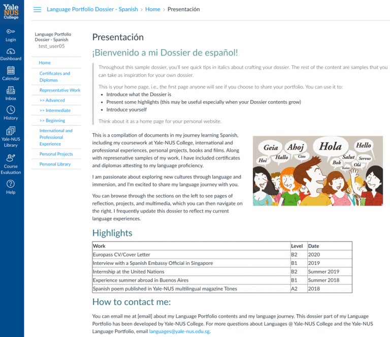 Sample Language Dossier