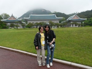 Us at the Cheongwadae (Presidential Palace) which means The Blue House