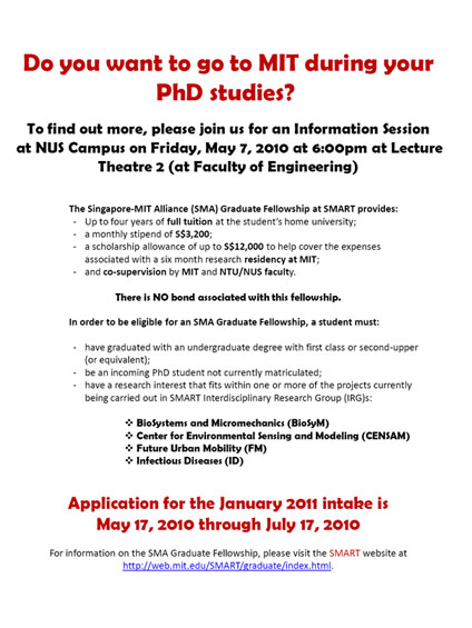SMA Graduate Fellowship Information Session for January 2011 intake