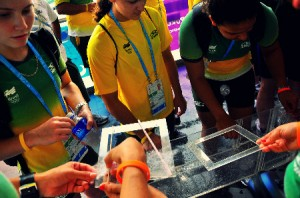 Youth athletes using filters at one of the exhibits at Marina Barrage-- SYOGOC Photo: Genevieve Marie Goh