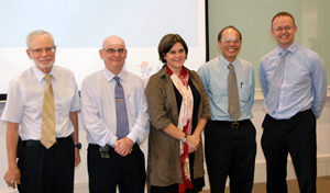 GRANT PRESENTATION CEREMONY: (From left) NUS Department of Psychology's Prof Richard Ebstein, NUS Deputy President (Research and Technology) Prof Barry Halliwell, Head of the AXA Research Fund Mrs Anne-Juliette Hermant, NUS Department of Economics' Prof Chew Soo Hong and CEO of AXA Life Singapore Mr Glenn Williams at the AXA University Asia Pacific Campus on 2 December 2010