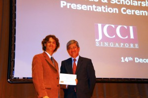 Dr Chris McMorran (left) receives congratulations from Japanese Ambassador to Singapore Yoichi Suzuki