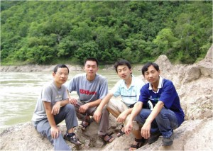 Wang Jianjun (the most left) and other team members during the field survey in 2007