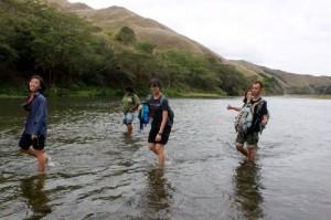 Trekking through the Sigatoka river to get to our site