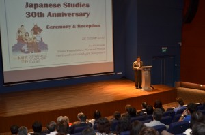 Minister Yamamoto from the Embassy of Japan in Singapore addressing the guests
