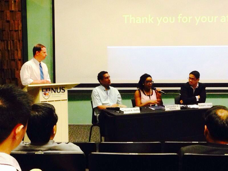 (From left) Dr Kevin McGahan, Dr Monti Datta, Ms Samanthé Eulette, and Mr Robert Larga