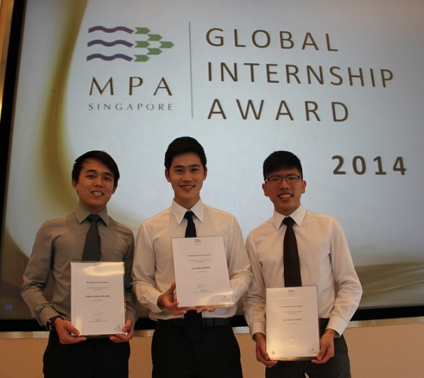 NUS recipients of the MPA Global Internship Award (from Left): Tobias Leong, Zachary Lee, and Alex Huang (BBA Accounting).