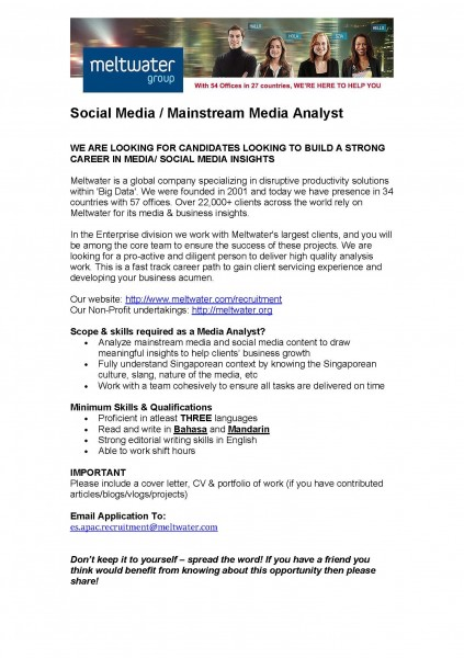 Job opportunity - meltwater - analyst