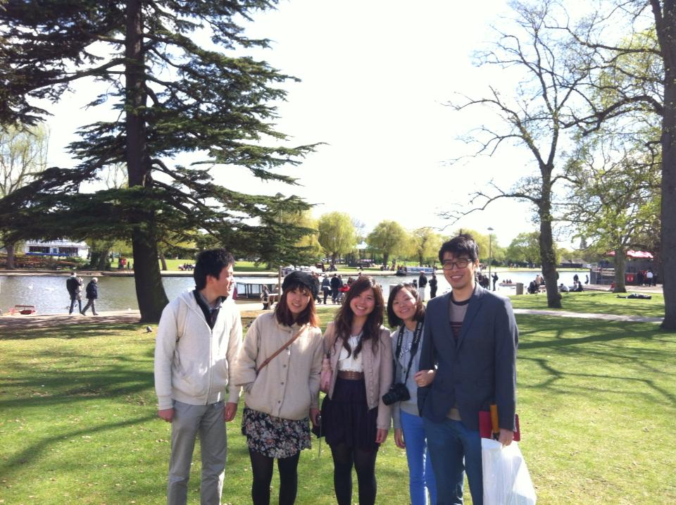 At Stratford-upon-Avon with friends from Japan, 2013.