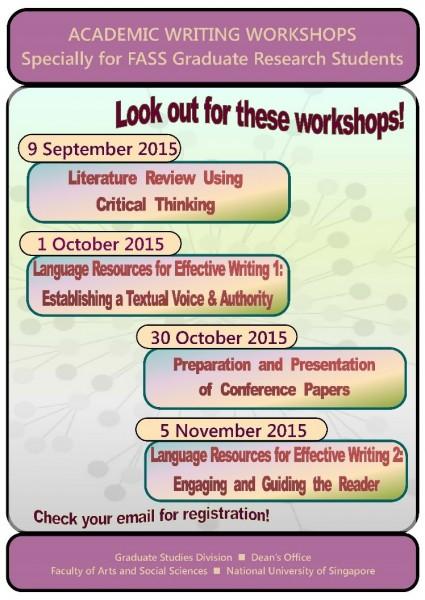Poster for Writing Workshops Sem I 2015-2016