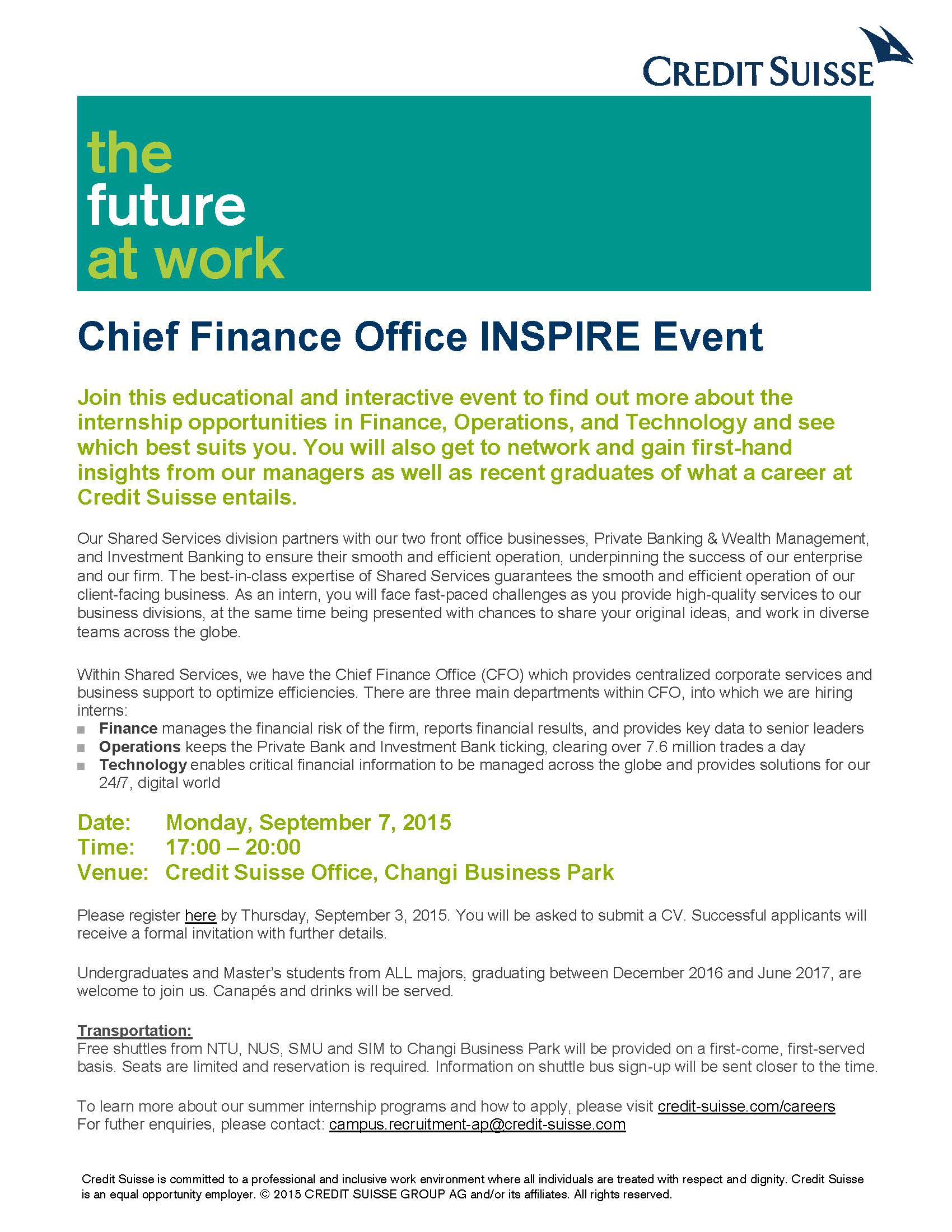 SIGN UP NOW Credit Suisse Chief Finance Office INSPIRE Event -  September 7 2015