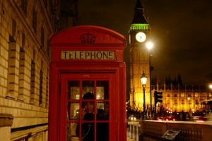 Big Ben and red telephone box, two icons of London
