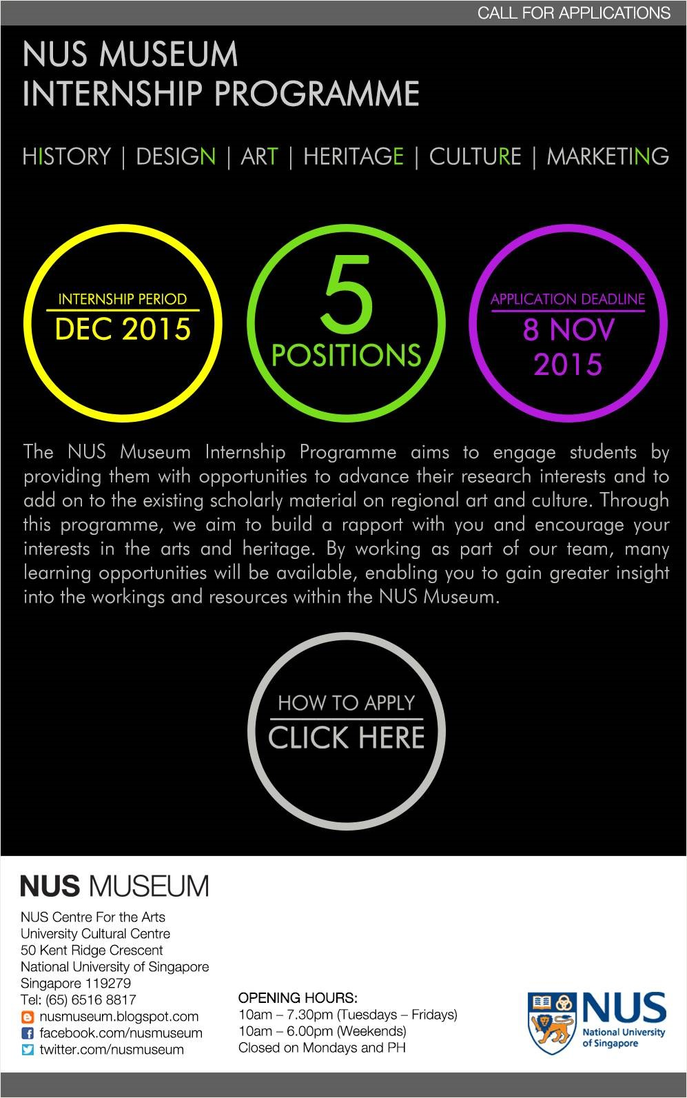 NUS Museum Internship Programme 2015
