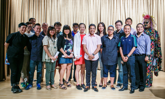 TheatreWorks 24-hour playwrighting competition winners with guest-of-honour Dr Maliki Osman