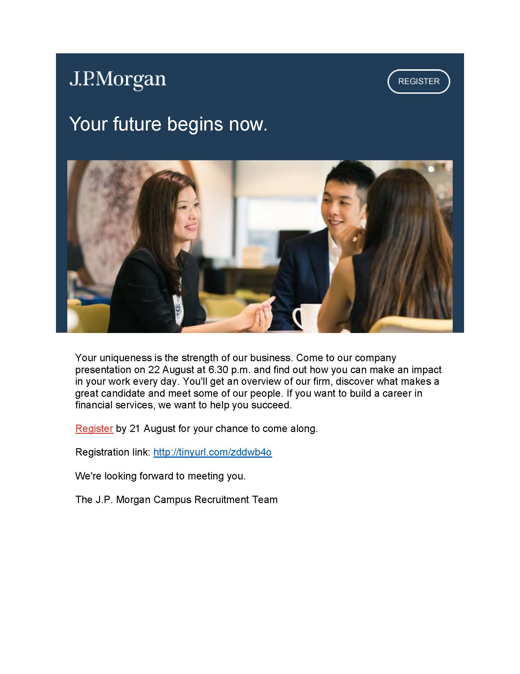JP Morgan Recruitment Talk on 21 August – register now