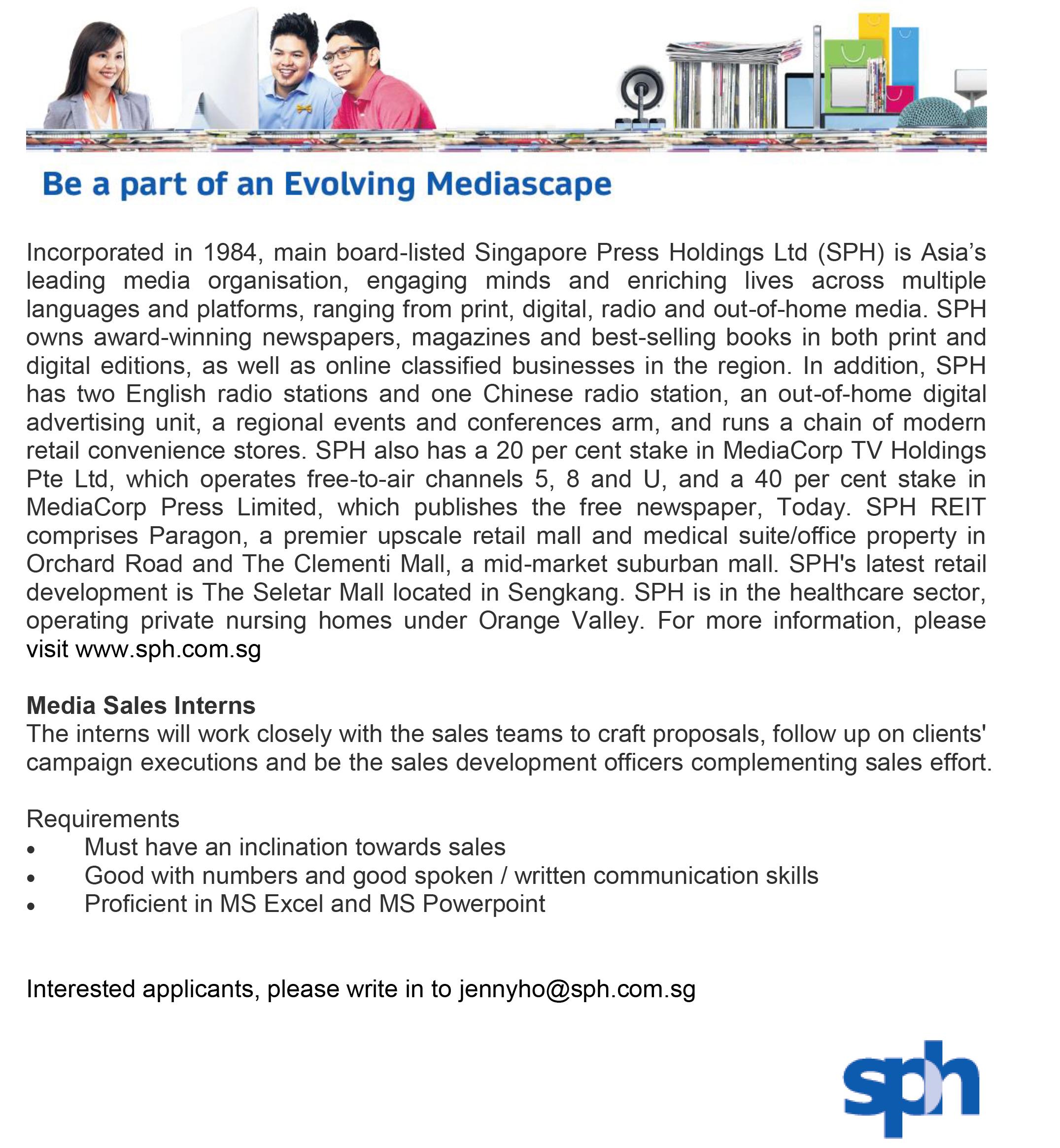 Internship SPH Media Sales Intern