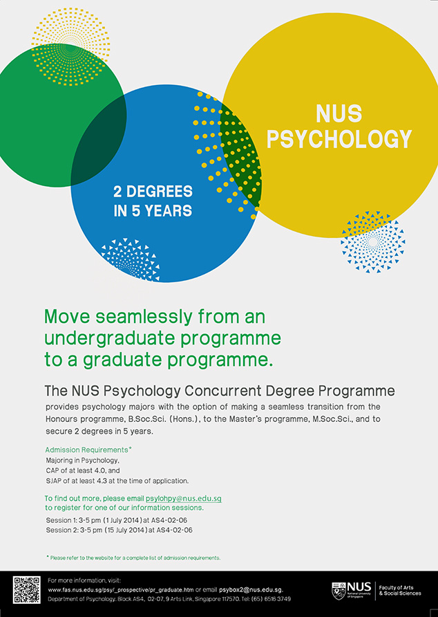 Earn a Master's and Honours Degree in 5 years: New NUS Psychology Concurrent Degree Programme