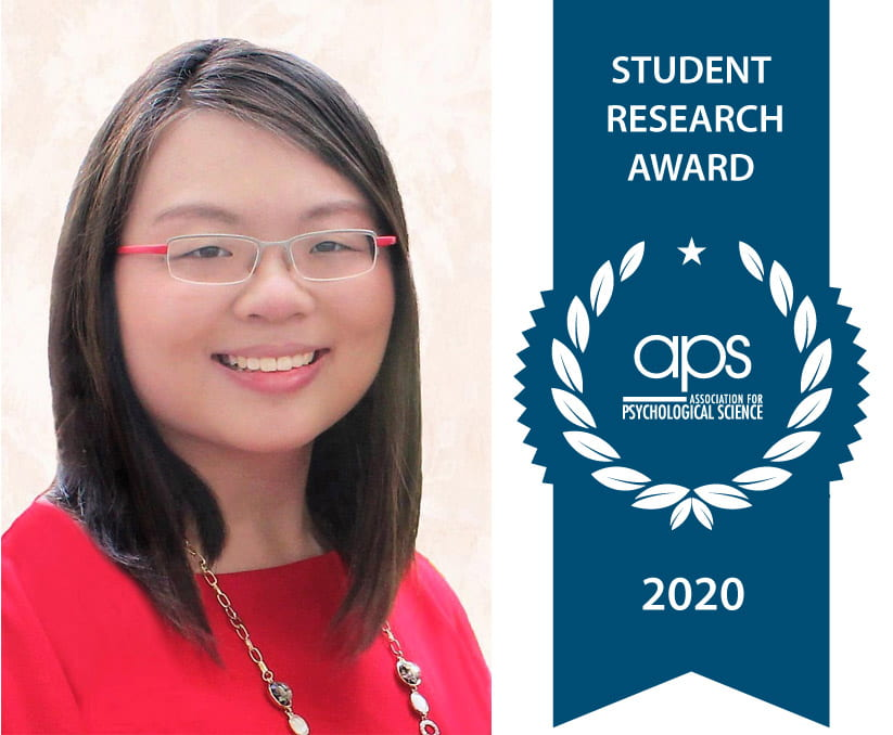 NUS Psychology Graduate Dr. Sarah Wong Wins 2020 Association for Psychological Science (APS) Student Research Award!