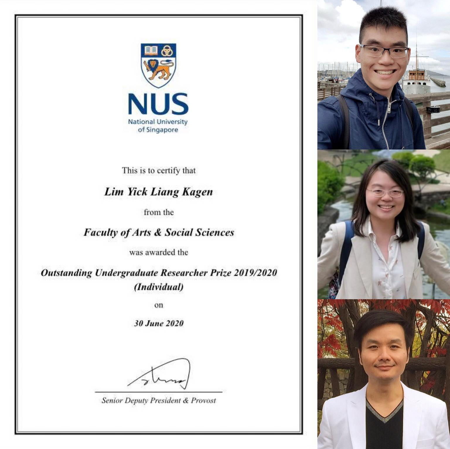 FASS Psychology Student Kagen Lim from CogEduLab@NUS Wins 2020 University Outstanding Undergraduate Researcher Prize!