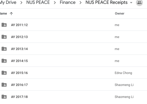 NUS PEACE Receipts