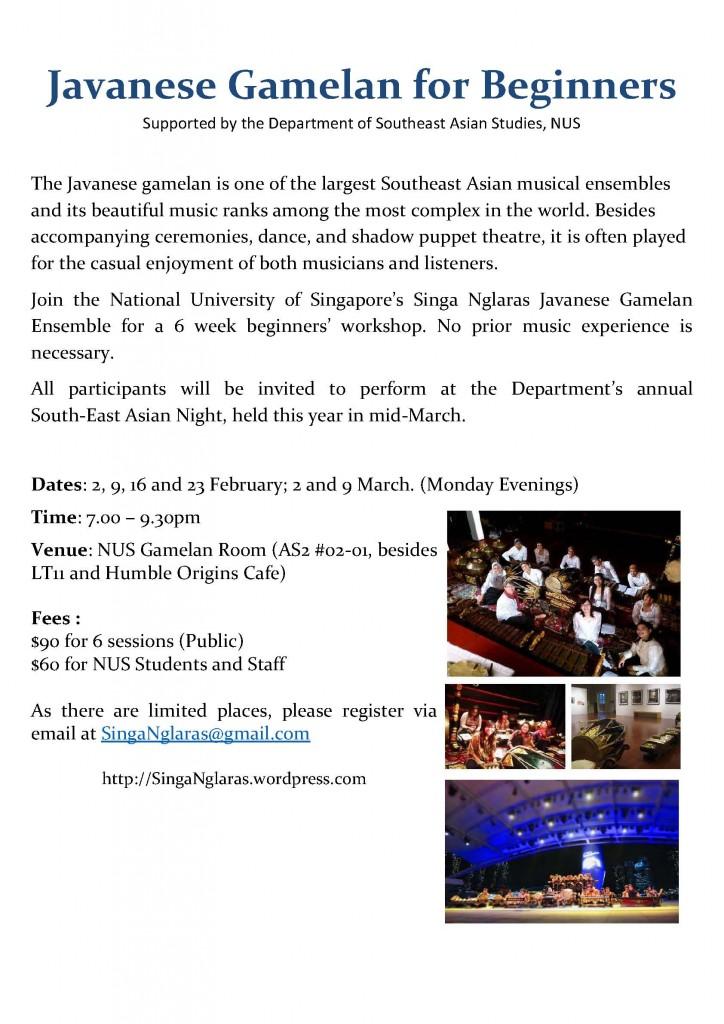 Javanese Gamelan for Beginners Course 2015