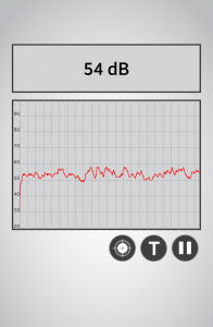 54dB - Sound at more than half empty UHall Spinelli. Today at 3pm. I found out that I can record sound on a chart with time too!