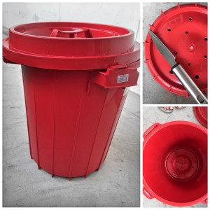 Bin with lid with manually drilled holes