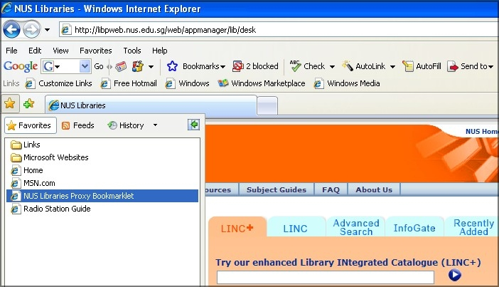 Installing NUS Libraries proxy bookmarklet