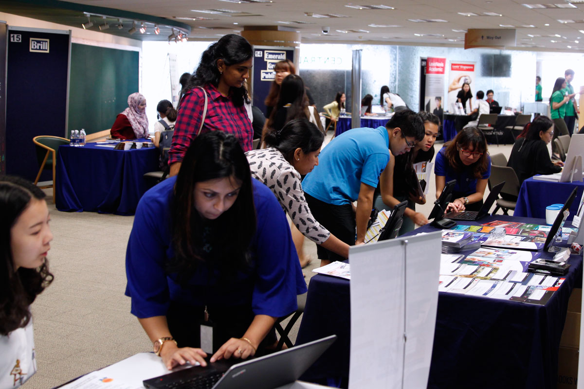 The NUS community came down in droves to engage the e-resource publishers on their latest tools and offerings.