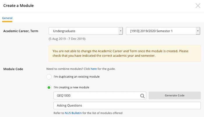 Create a module dialog box