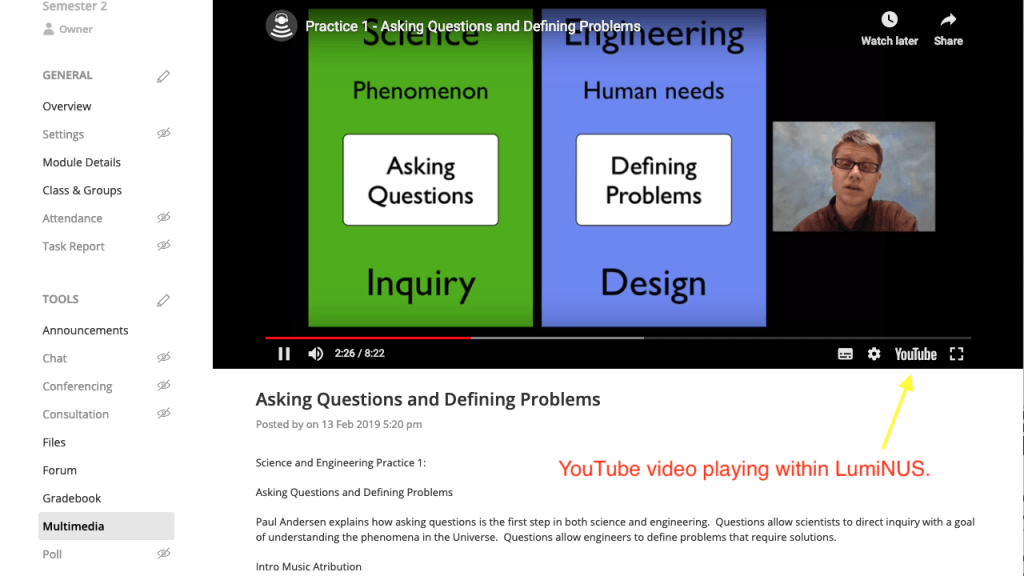 YouTube video in Multimedia - click for a larger screenshot.