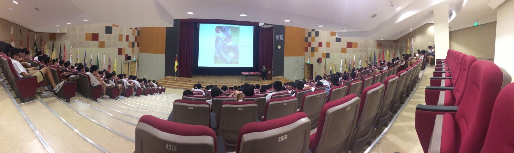 Students at Victoria School learn about the threats encountered by the civet in Singapore.