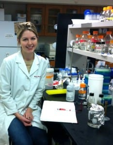 Hilary Hopkins in an SMU lab