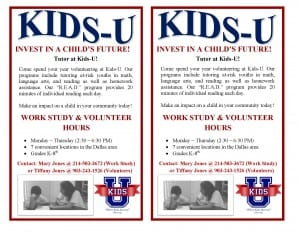 Kids-U Volunteer and Work Study Flier