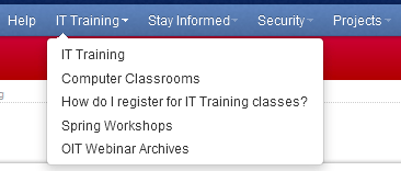IT Training Menu