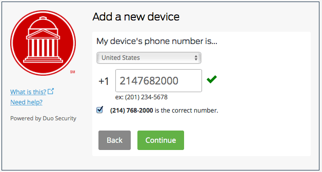 Duo Enrollment New Device Number