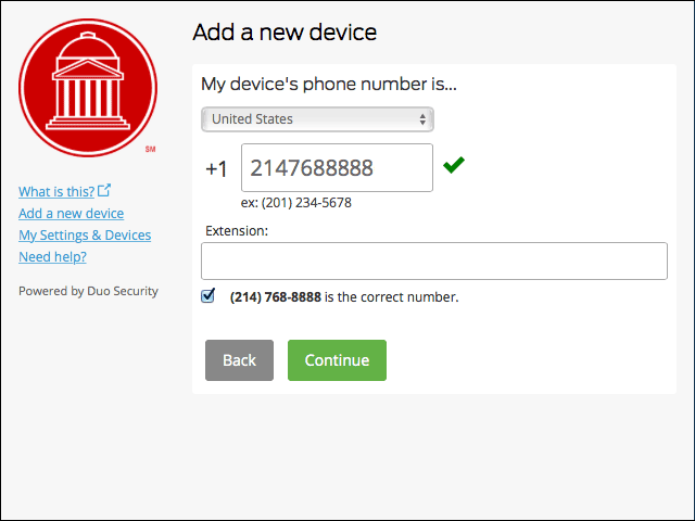Duo New Device number