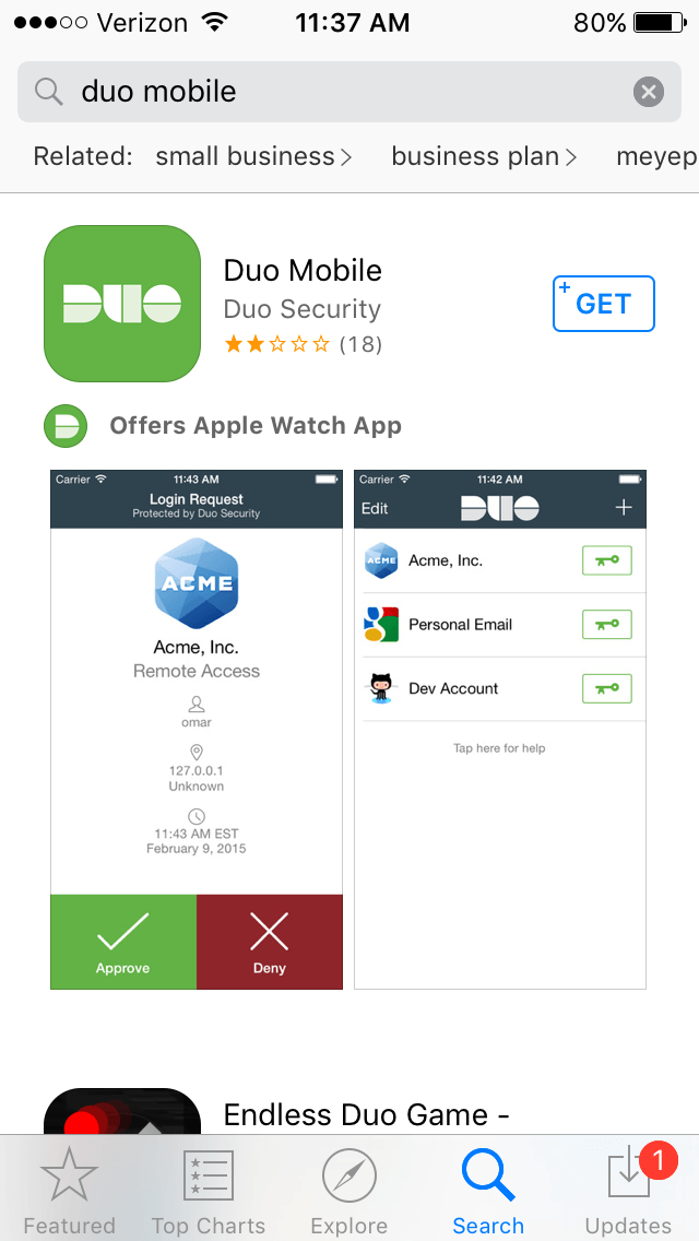 Duo Mobile App Store
