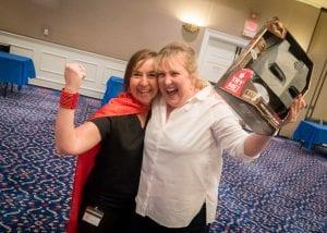 Laurene Klassen & Rebecca Sampson, the winner of the OIT/HR Fair Batman Voice Changer Helmet.